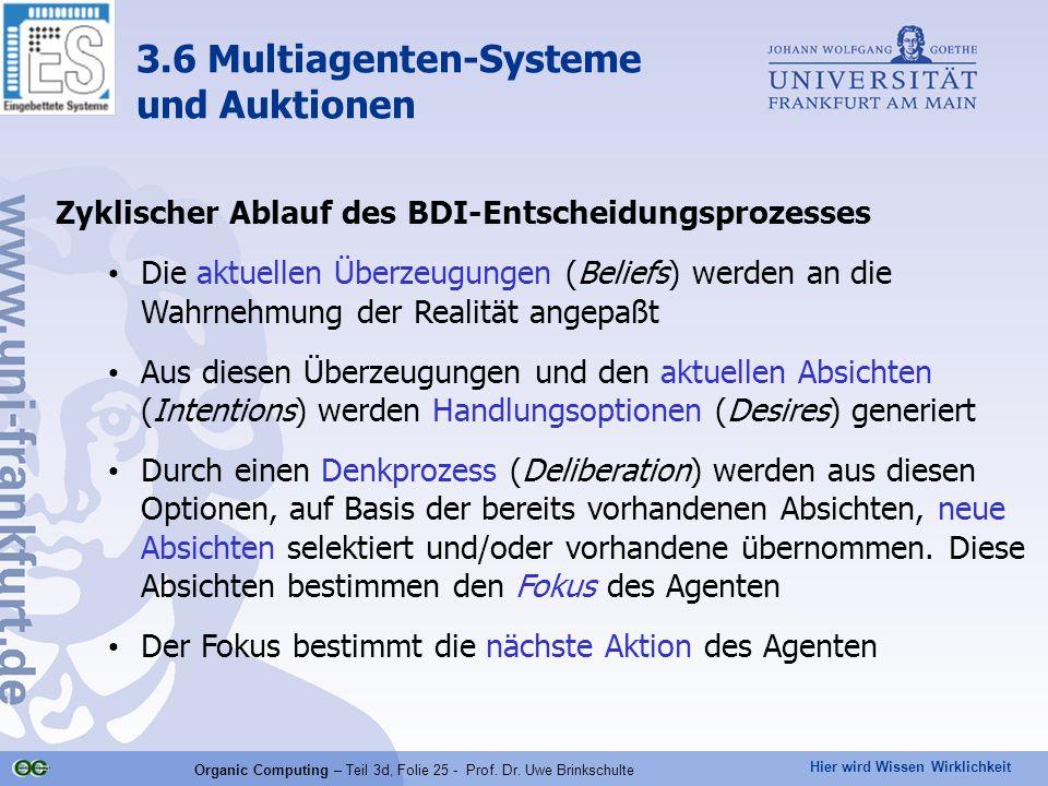Hier wird Wissen Wirklichkeit Organic Computing – Teil 3d, Folie 25 - Prof. Dr. Uwe Brinkschulte Zyklischer Ablauf des BDI-Entscheidungsprozesses Die