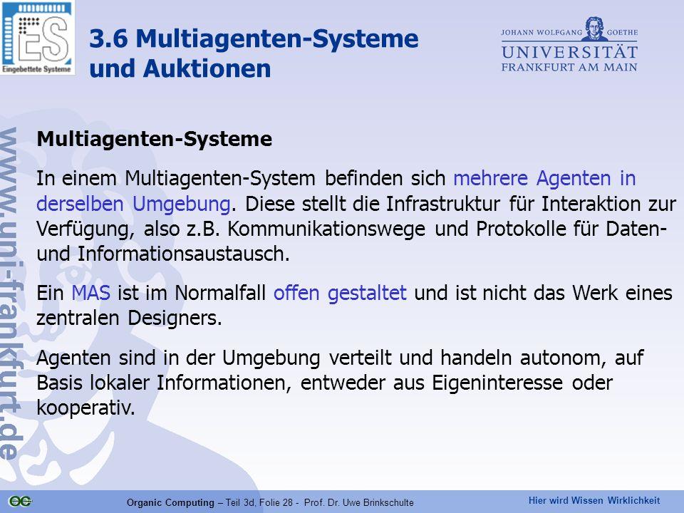 Hier wird Wissen Wirklichkeit Organic Computing – Teil 3d, Folie 28 - Prof. Dr. Uwe Brinkschulte Multiagenten-Systeme In einem Multiagenten-System bef