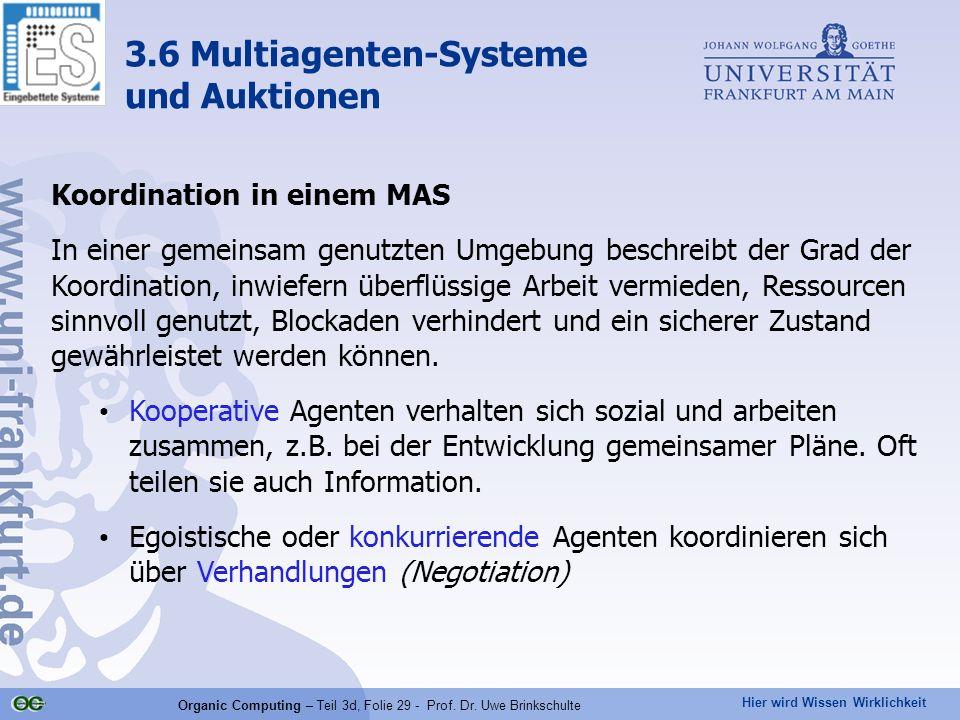 Hier wird Wissen Wirklichkeit Organic Computing – Teil 3d, Folie 29 - Prof. Dr. Uwe Brinkschulte Koordination in einem MAS In einer gemeinsam genutzte