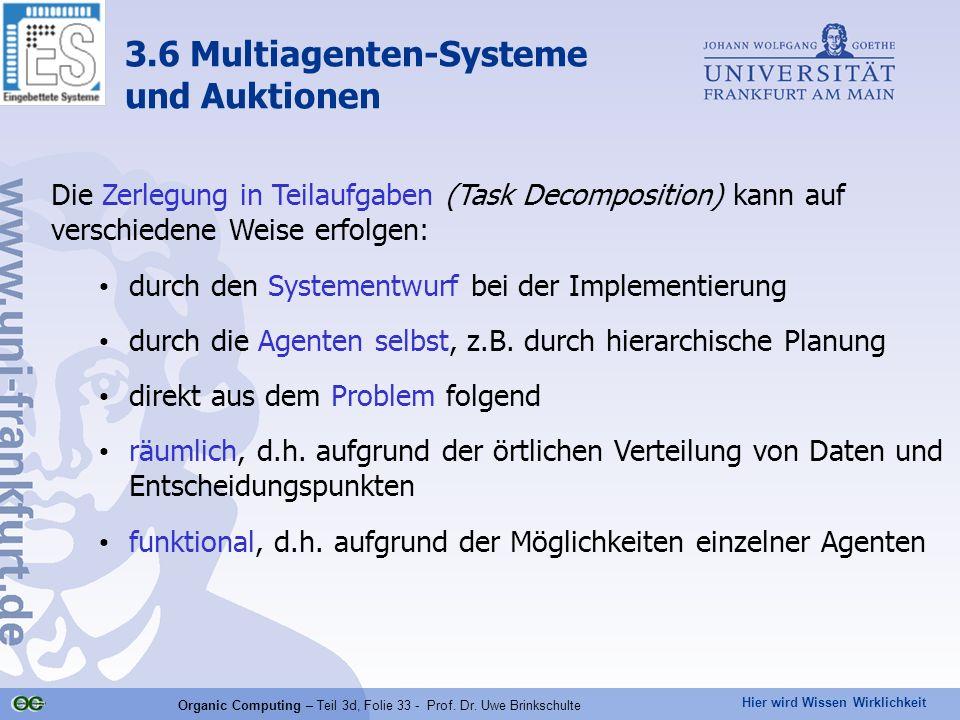 Hier wird Wissen Wirklichkeit Organic Computing – Teil 3d, Folie 33 - Prof. Dr. Uwe Brinkschulte Die Zerlegung in Teilaufgaben (Task Decomposition) ka
