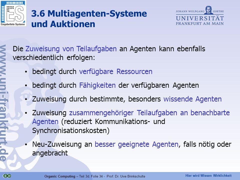 Hier wird Wissen Wirklichkeit Organic Computing – Teil 3d, Folie 34 - Prof. Dr. Uwe Brinkschulte Die Zuweisung von Teilaufgaben an Agenten kann ebenfa