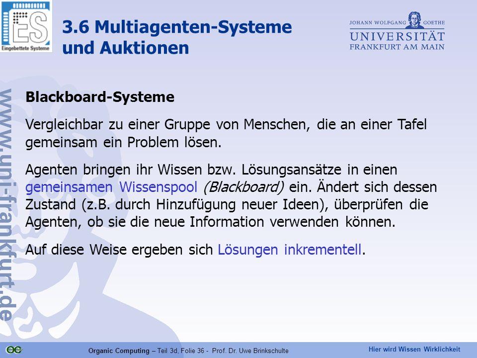 Hier wird Wissen Wirklichkeit Organic Computing – Teil 3d, Folie 36 - Prof. Dr. Uwe Brinkschulte Blackboard-Systeme Vergleichbar zu einer Gruppe von M