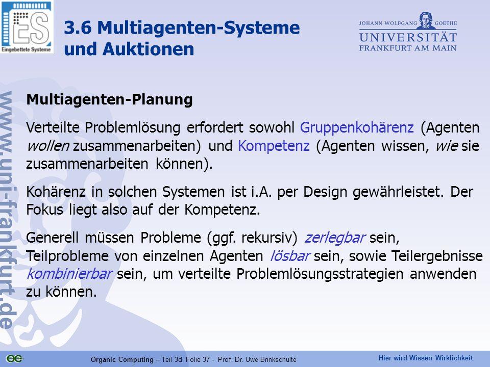 Hier wird Wissen Wirklichkeit Organic Computing – Teil 3d, Folie 37 - Prof. Dr. Uwe Brinkschulte Multiagenten-Planung Verteilte Problemlösung erforder