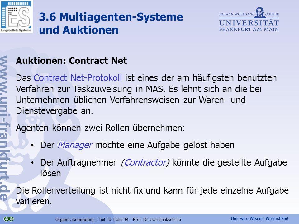Hier wird Wissen Wirklichkeit Organic Computing – Teil 3d, Folie 39 - Prof. Dr. Uwe Brinkschulte Auktionen: Contract Net Das Contract Net-Protokoll is