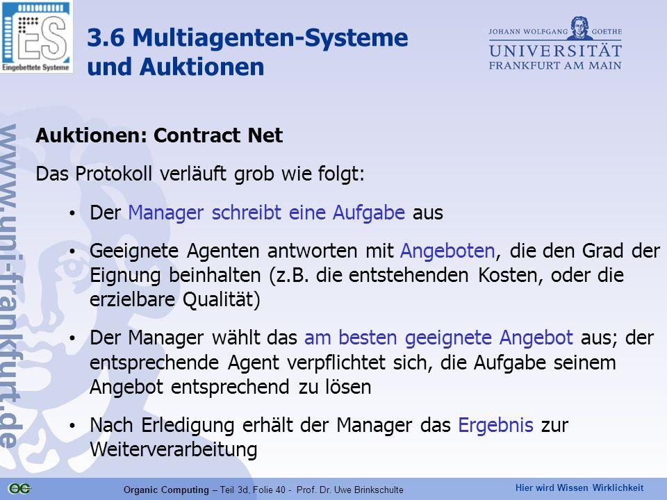 Hier wird Wissen Wirklichkeit Organic Computing – Teil 3d, Folie 40 - Prof. Dr. Uwe Brinkschulte Auktionen: Contract Net Das Protokoll verläuft grob w