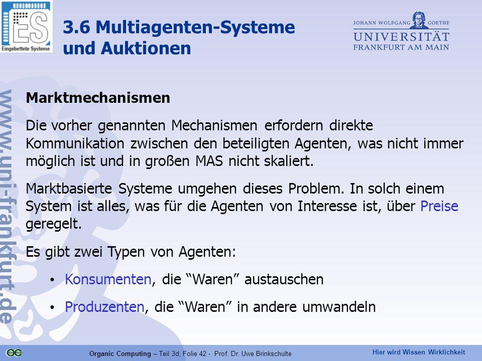 Hier wird Wissen Wirklichkeit Organic Computing – Teil 3d, Folie 42 - Prof. Dr. Uwe Brinkschulte Marktmechanismen Die vorher genannten Mechanismen erf