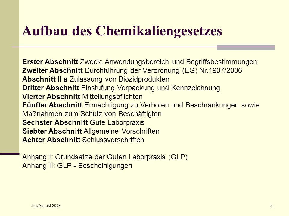 Juli/August 20092 Aufbau des Chemikaliengesetzes Erster Abschnitt Zweck; Anwendungsbereich und Begriffsbestimmungen Zweiter Abschnitt Durchführung der