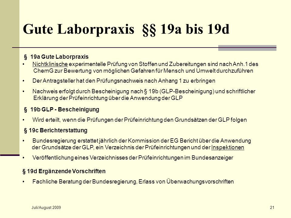Juli/August 200921 Gute Laborpraxis §§ 19a bis 19d § 19a Gute Laborpraxis Nichtklinische experimentelle Prüfung von Stoffen und Zubereitungen sind nac