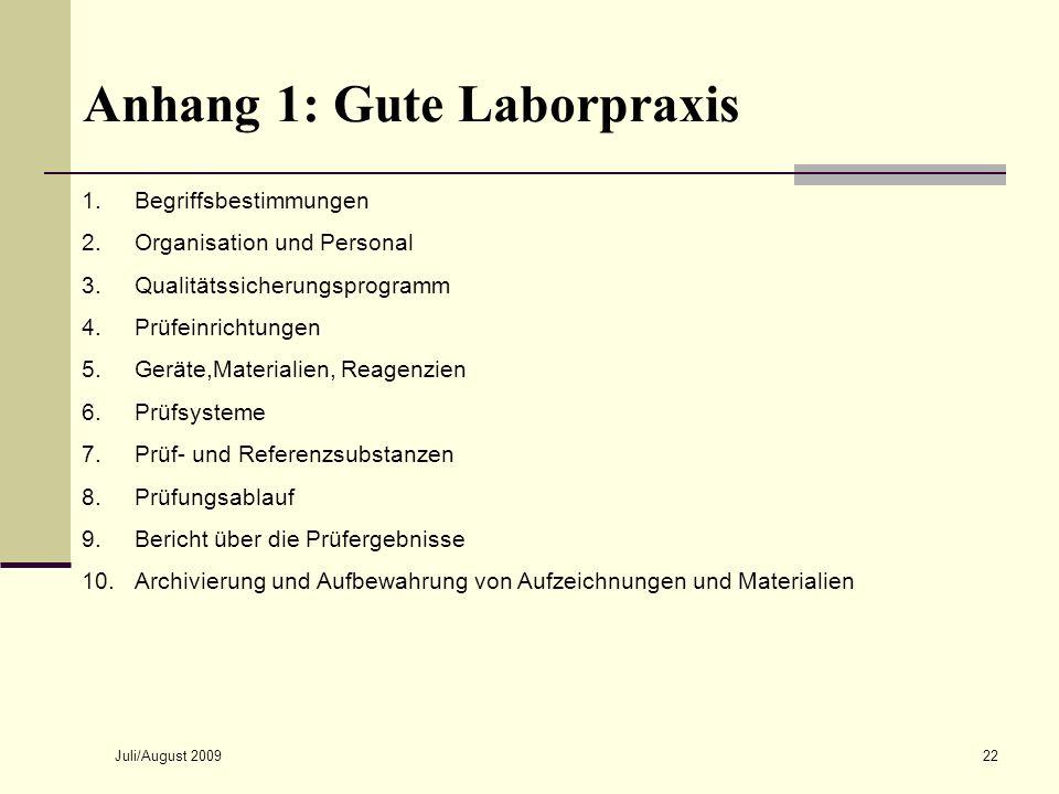 Juli/August 200922 Anhang 1: Gute Laborpraxis 1.Begriffsbestimmungen 2.Organisation und Personal 3.Qualitätssicherungsprogramm 4.Prüfeinrichtungen 5.G