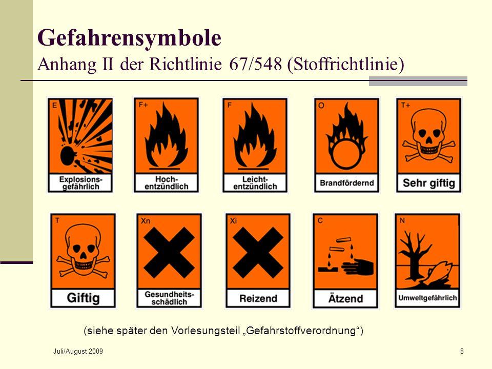 Juli/August 20098 Gefahrensymbole Anhang II der Richtlinie 67/548 (Stoffrichtlinie) (siehe später den Vorlesungsteil Gefahrstoffverordnung)
