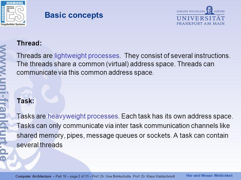 Hier wird Wissen Wirklichkeit Computer Architecture – Part 10 – page 2 of 31 – Prof.