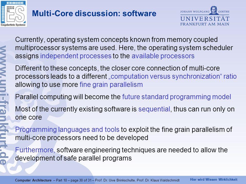 Hier wird Wissen Wirklichkeit Computer Architecture – Part 10 – page 30 of 31 – Prof.