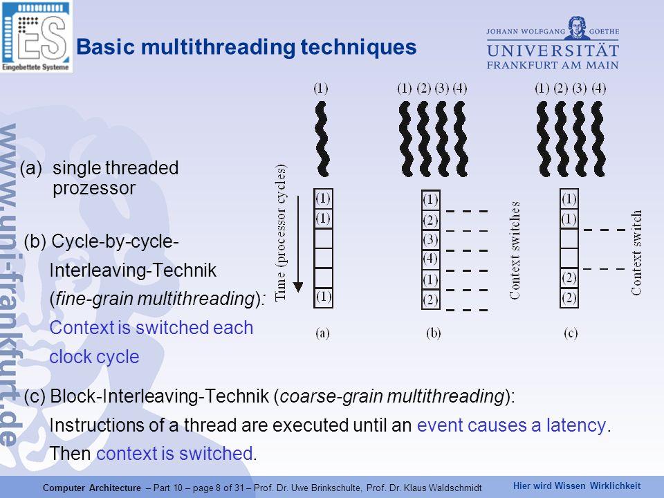 Hier wird Wissen Wirklichkeit Computer Architecture – Part 10 – page 8 of 31 – Prof.