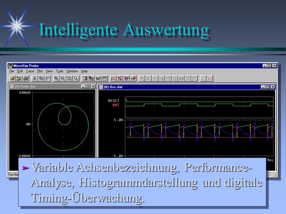 Intelligente Auswertung ä Variable Achsenbezeichnung, Performance- Analyse, Histogrammdarstellung und digitale Timing-Überwachung.