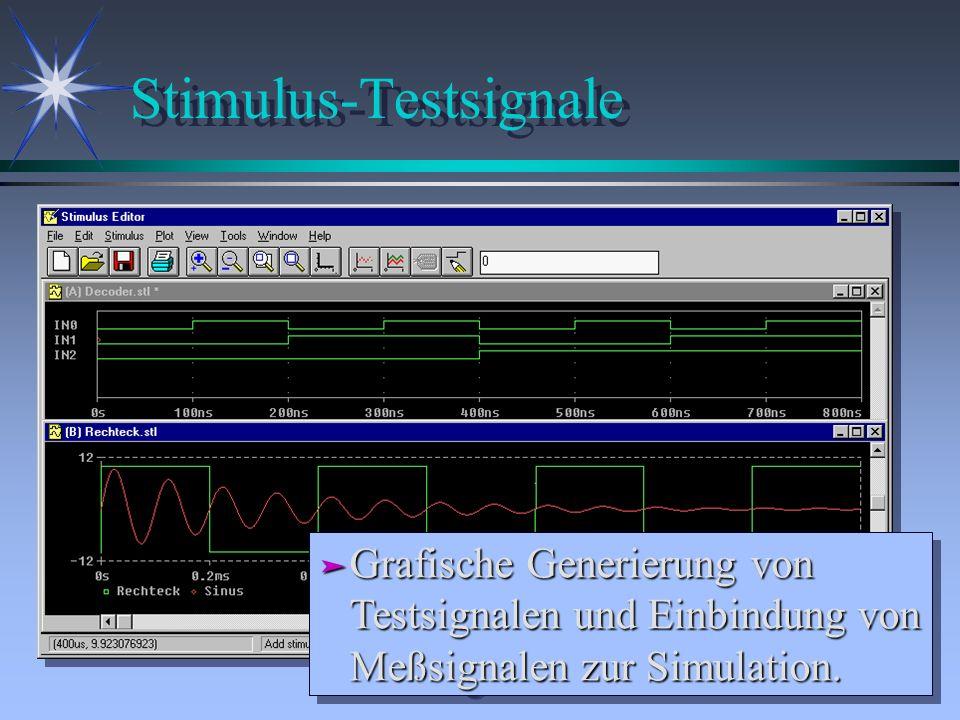 Stimulus-Testsignale ä Grafische Generierung von Testsignalen und Einbindung von Meßsignalen zur Simulation.