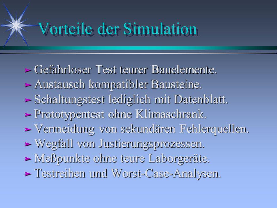Vorteile der Simulation ä Gefahrloser Test teurer Bauelemente. ä Austausch kompatibler Bausteine. ä Schaltungstest lediglich mit Datenblatt. ä Prototy