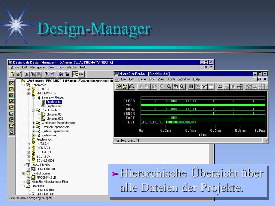 Design-Manager ä Hierarchische Übersicht über alle Dateien der Projekte.