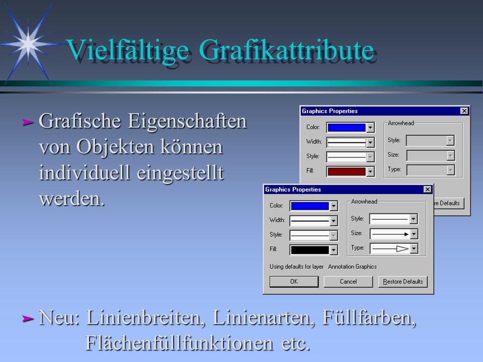 Vielfältige Grafikattribute ä Grafische Eigenschaften von Objekten können individuell eingestellt werden. ä Neu: Linienbreiten, Linienarten, Füllfarbe