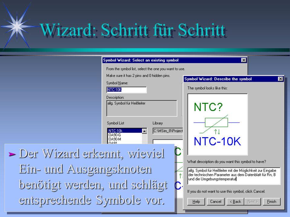Wizard: Schritt für Schritt ä Der Wizard erkennt, wieviel Ein- und Ausgangsknoten benötigt werden, und schlägt entsprechende Symbole vor.