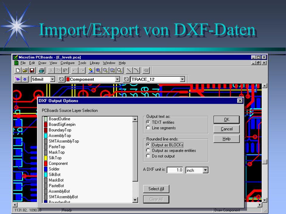 Import/Export von DXF-Daten