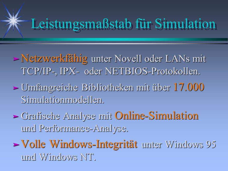 Leistungsmaßstab für Simulation ä Netzwerkfähig unter Novell oder LANs mit TCP/IP-, IPX- oder NETBIOS-Protokollen. ä Umfangreiche Bibliotheken mit übe