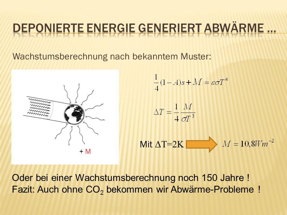 Wachstumsberechnung nach bekanntem Muster: + M Mit ΔT=2K Oder bei einer Wachstumsberechnung noch 150 Jahre ! Fazit: Auch ohne CO 2 bekommen wir Abwärm