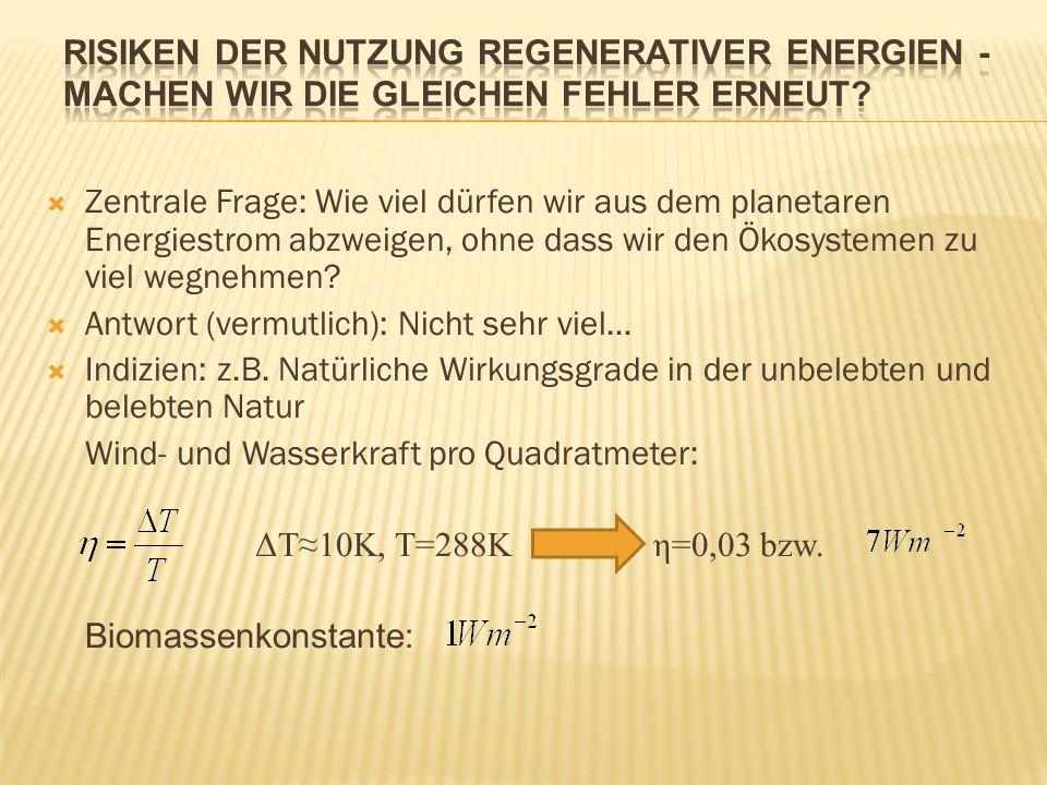 Zentrale Frage: Wie viel dürfen wir aus dem planetaren Energiestrom abzweigen, ohne dass wir den Ökosystemen zu viel wegnehmen? Antwort (vermutlich):