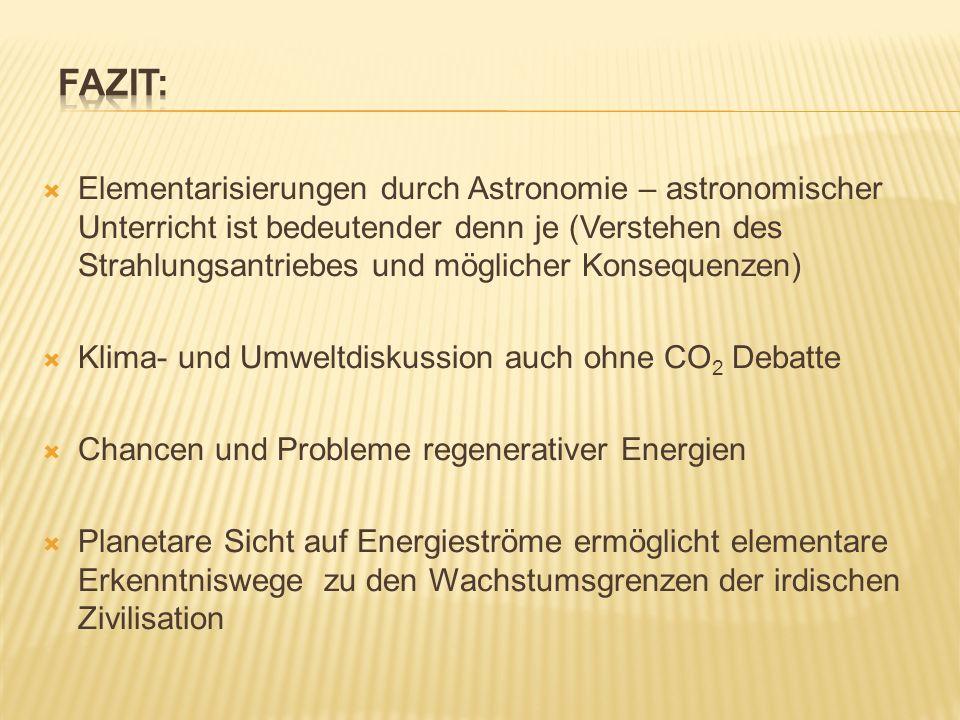 Elementarisierungen durch Astronomie – astronomischer Unterricht ist bedeutender denn je (Verstehen des Strahlungsantriebes und möglicher Konsequenzen) Klima- und Umweltdiskussion auch ohne CO 2 Debatte Chancen und Probleme regenerativer Energien Planetare Sicht auf Energieströme ermöglicht elementare Erkenntniswege zu den Wachstumsgrenzen der irdischen Zivilisation