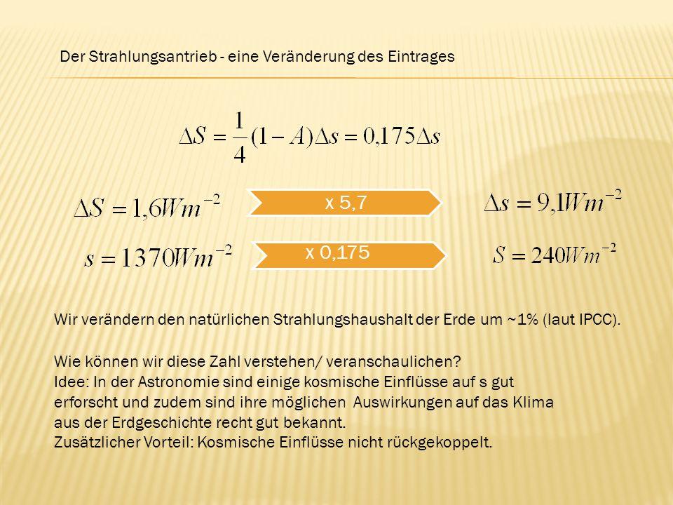 Der Strahlungsantrieb - eine Veränderung des Eintrages x 5,7 Wie können wir diese Zahl verstehen/ veranschaulichen? Idee: In der Astronomie sind einig