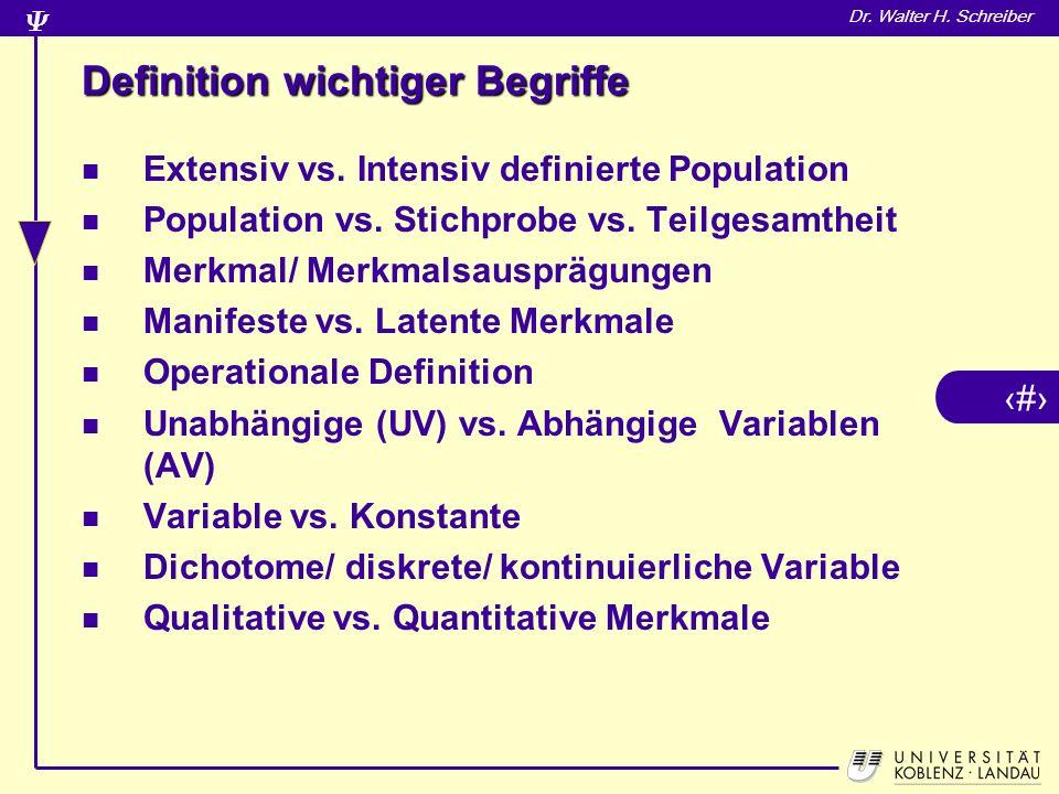 29 Dr.Walter H. Schreiber Definition wichtiger Begriffe Extensiv vs.