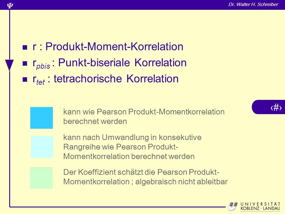 14 Dr. Walter H. Schreiber r : Produkt-Moment-Korrelation r pbis : Punkt-biseriale Korrelation r tet : tetrachorische Korrelation kann wie Pearson Pro