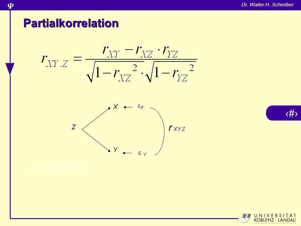 13 Dr. Walter H. Schreiber Partialkorrelation X Y X Y Z r XY.Z