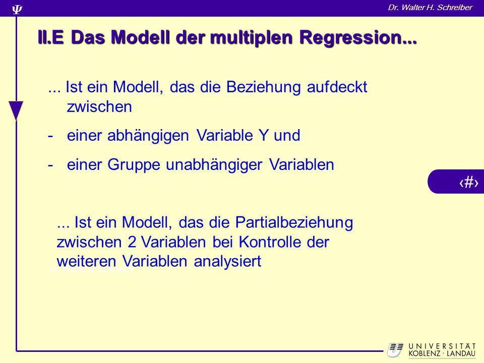 14 Dr. Walter H. Schreiber II.E Das Modell der multiplen Regression...... Ist ein Modell, das die Beziehung aufdeckt zwischen -einer abhängigen Variab