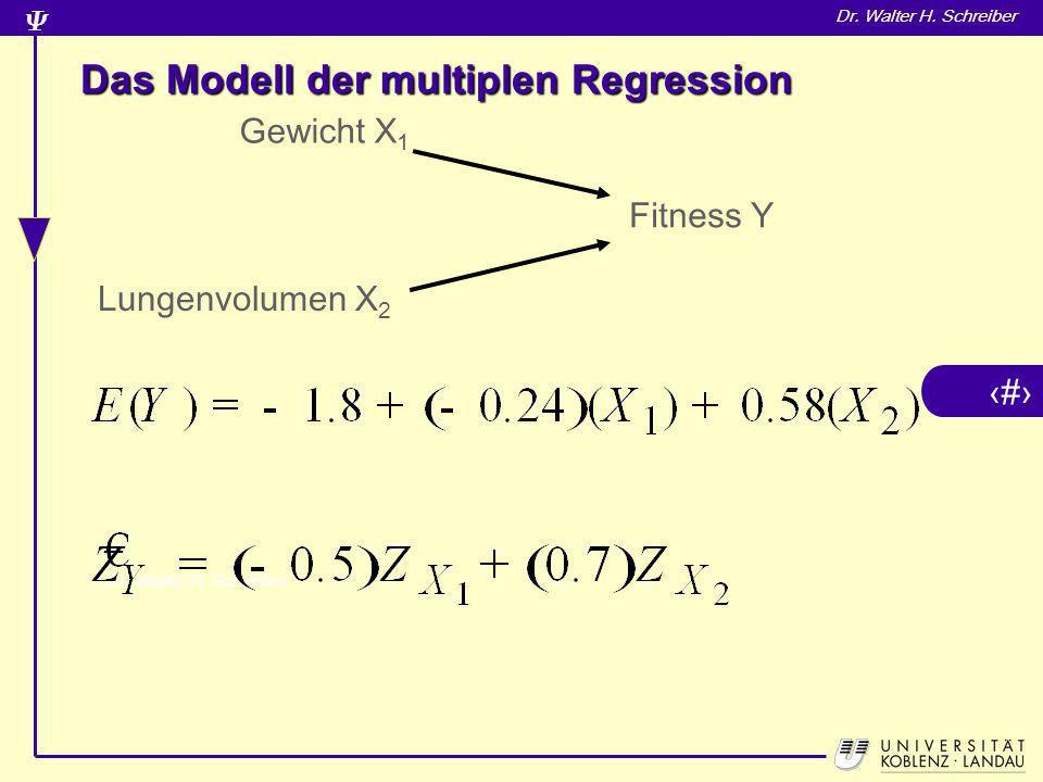 17 Dr. Walter H. Schreiber Das Modell der multiplen Regression Gewicht X 1 Fitness Y Lungenvolumen X 2