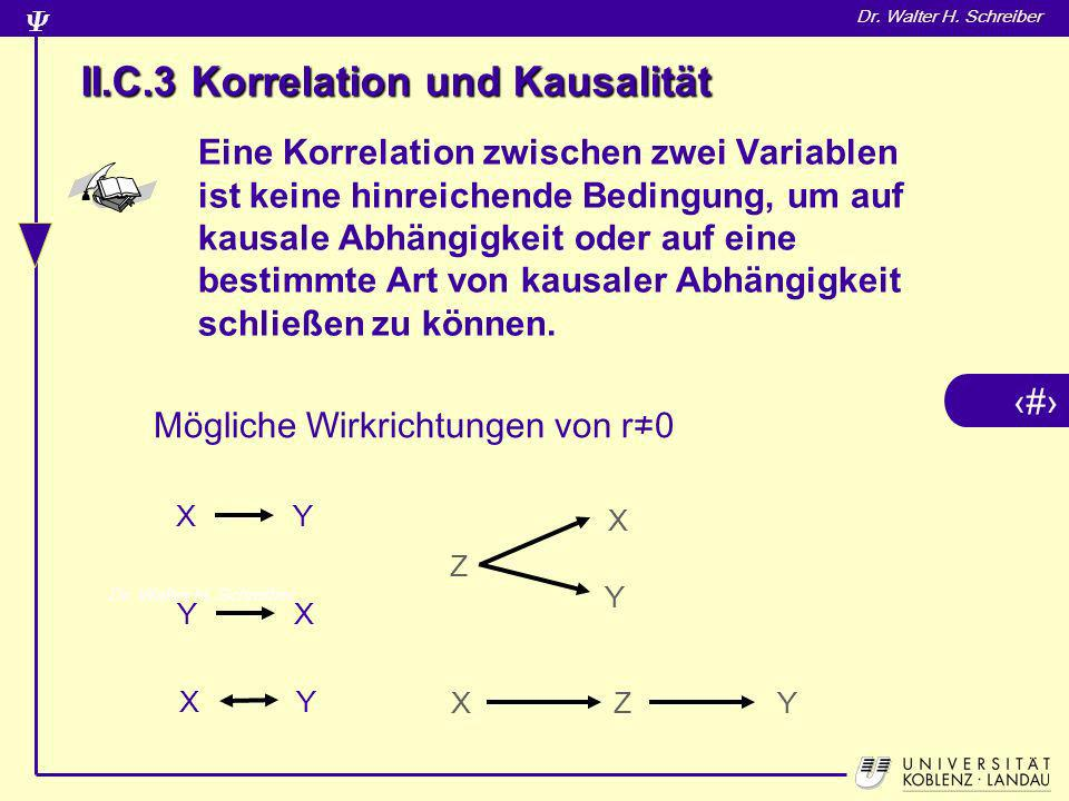 7 Dr. Walter H. Schreiber Eine Korrelation zwischen zwei Variablen ist keine hinreichende Bedingung, um auf kausale Abhängigkeit oder auf eine bestimm