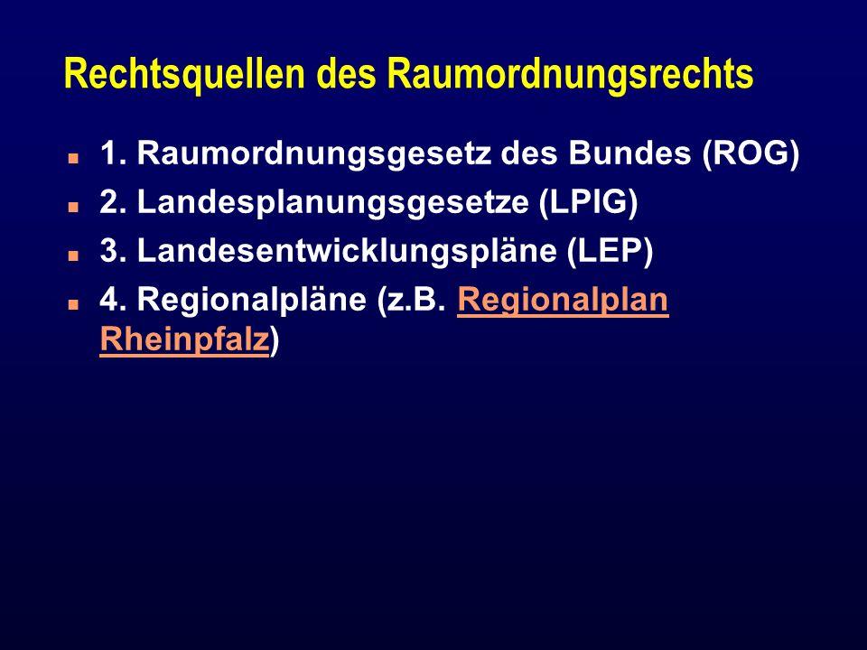 Rechtsquellen des Raumordnungsrechts n 1. Raumordnungsgesetz des Bundes (ROG) n 2. Landesplanungsgesetze (LPlG) n 3. Landesentwicklungspläne (LEP) n 4