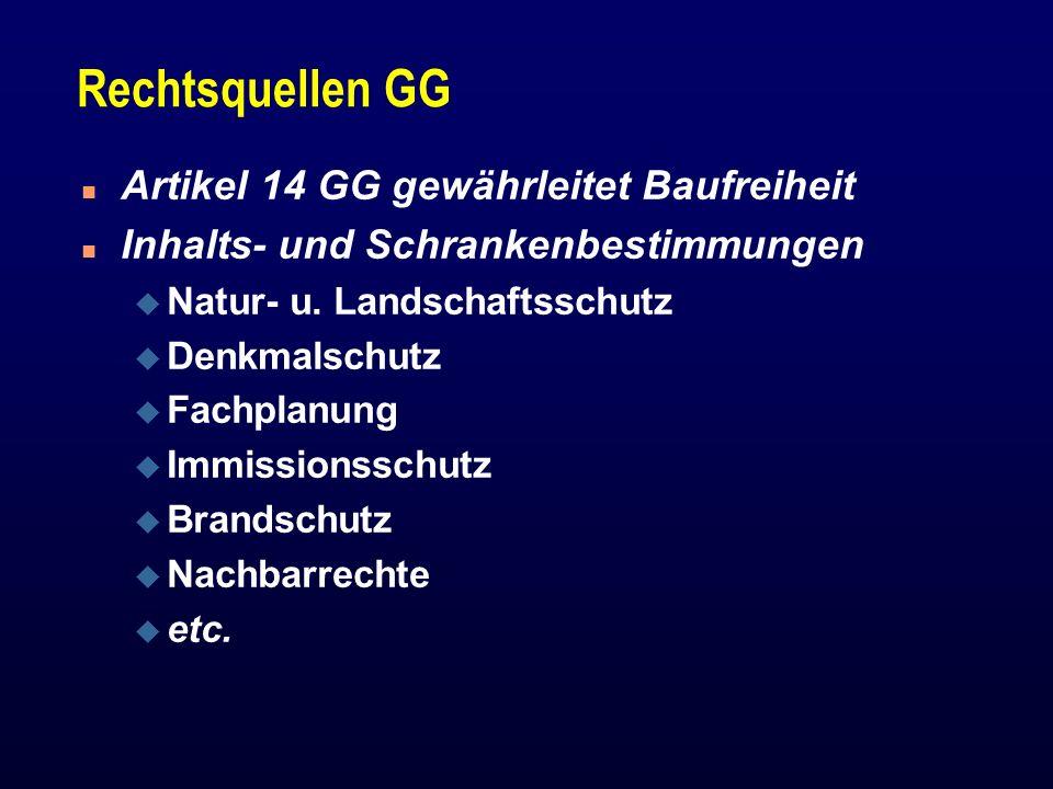 Rechtsquellen GG n Artikel 14 GG gewährleitet Baufreiheit n Inhalts- und Schrankenbestimmungen u Natur- u. Landschaftsschutz u Denkmalschutz u Fachpla