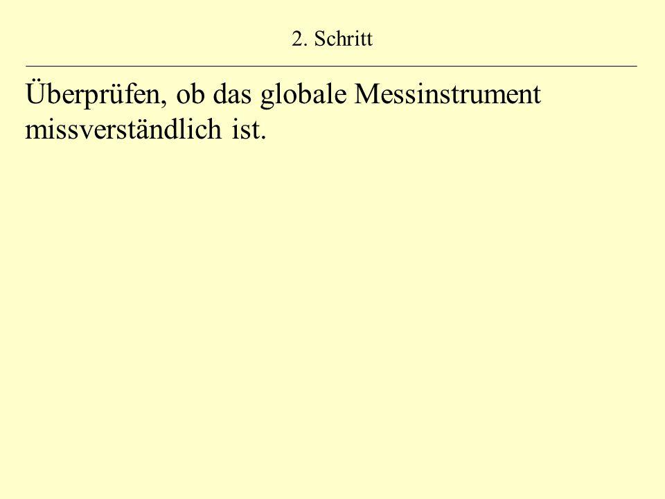 2. Schritt Überprüfen, ob das globale Messinstrument missverständlich ist.