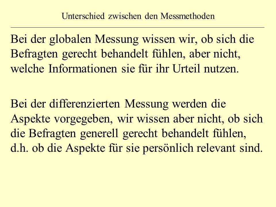 Unterschied zwischen den Messmethoden Bei der globalen Messung wissen wir, ob sich die Befragten gerecht behandelt fühlen, aber nicht, welche Informat