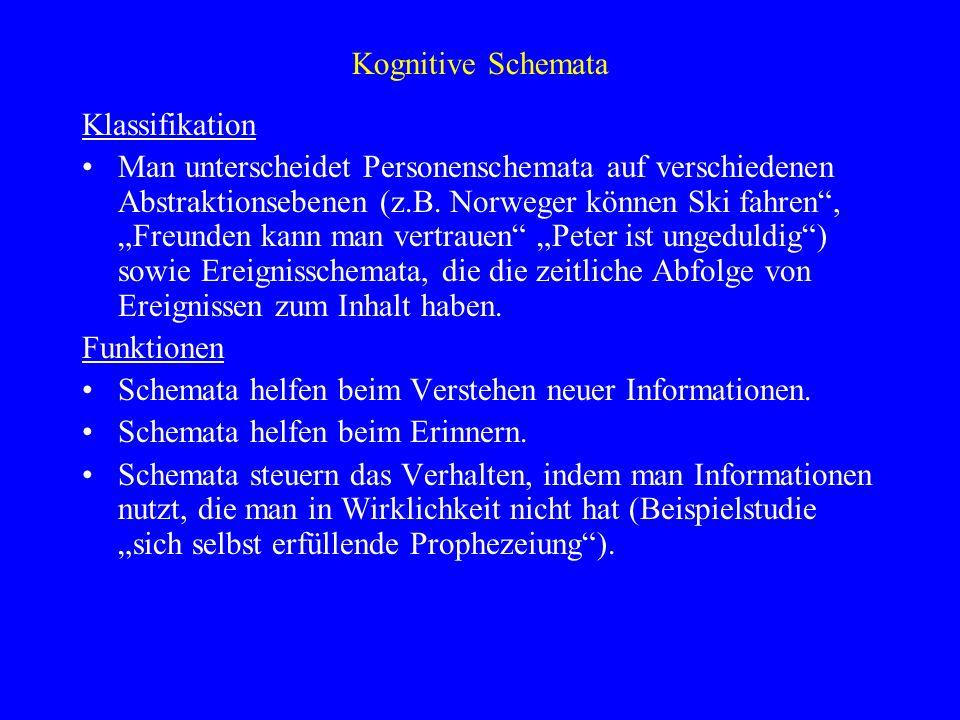 Kognitive Schemata Klassifikation Man unterscheidet Personenschemata auf verschiedenen Abstraktionsebenen (z.B. Norweger können Ski fahren, Freunden k