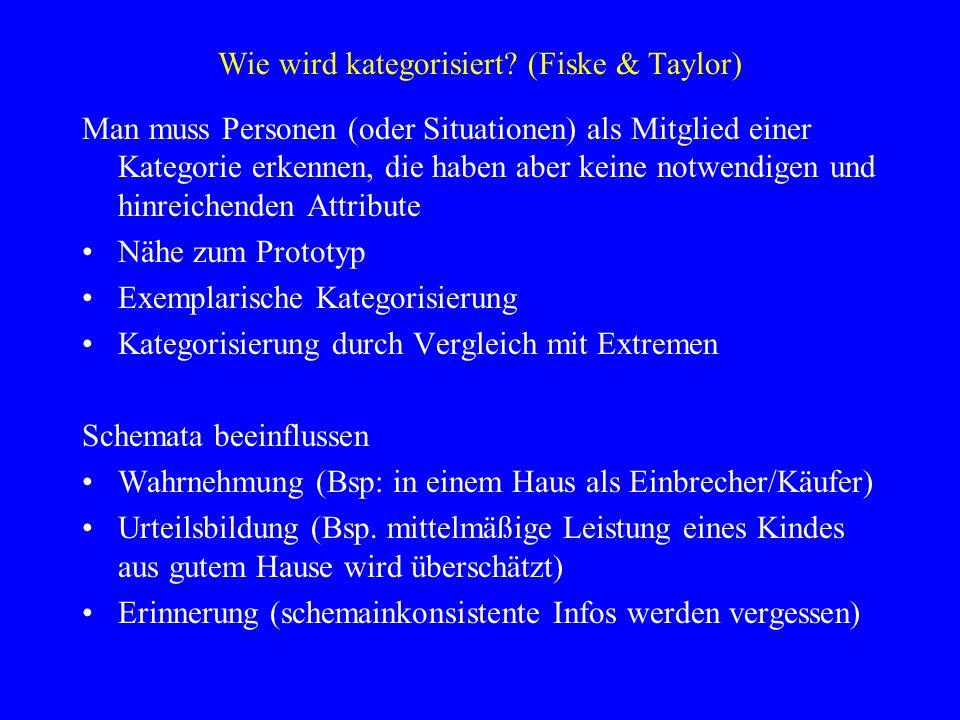 Wie wird kategorisiert? (Fiske & Taylor) Man muss Personen (oder Situationen) als Mitglied einer Kategorie erkennen, die haben aber keine notwendigen