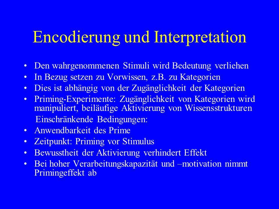 Encodierung und Interpretation Den wahrgenommenen Stimuli wird Bedeutung verliehen In Bezug setzen zu Vorwissen, z.B. zu Kategorien Dies ist abhängig