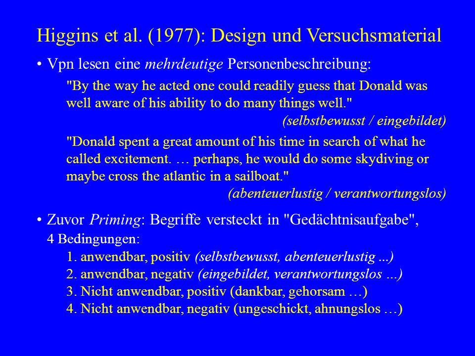 Higgins et al. (1977): Design und Versuchsmaterial Vpn lesen eine mehrdeutige Personenbeschreibung: