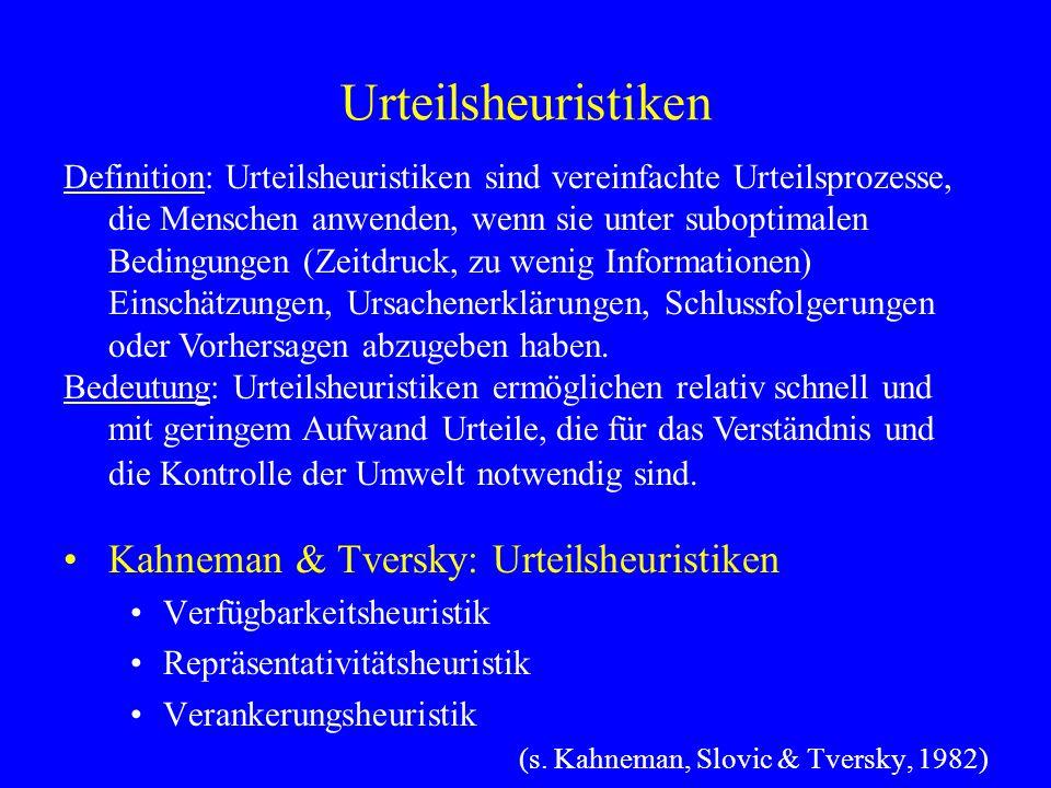 Urteilsheuristiken Kahneman & Tversky: Urteilsheuristiken Verfügbarkeitsheuristik Repräsentativitätsheuristik Verankerungsheuristik (s. Kahneman, Slov