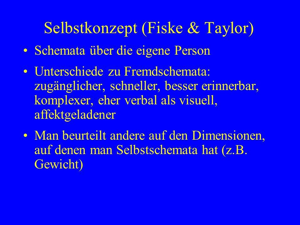 Selbstkonzept (Fiske & Taylor) Schemata über die eigene Person Unterschiede zu Fremdschemata: zugänglicher, schneller, besser erinnerbar, komplexer, e