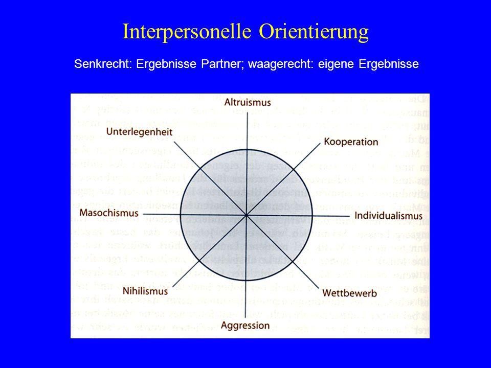 Interpersonelle Orientierung Senkrecht: Ergebnisse Partner; waagerecht: eigene Ergebnisse