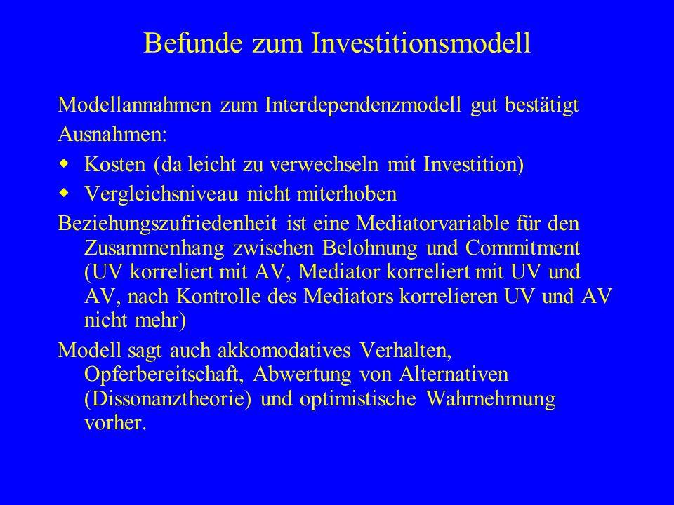 Befunde zum Investitionsmodell Modellannahmen zum Interdependenzmodell gut bestätigt Ausnahmen: Kosten (da leicht zu verwechseln mit Investition) Verg