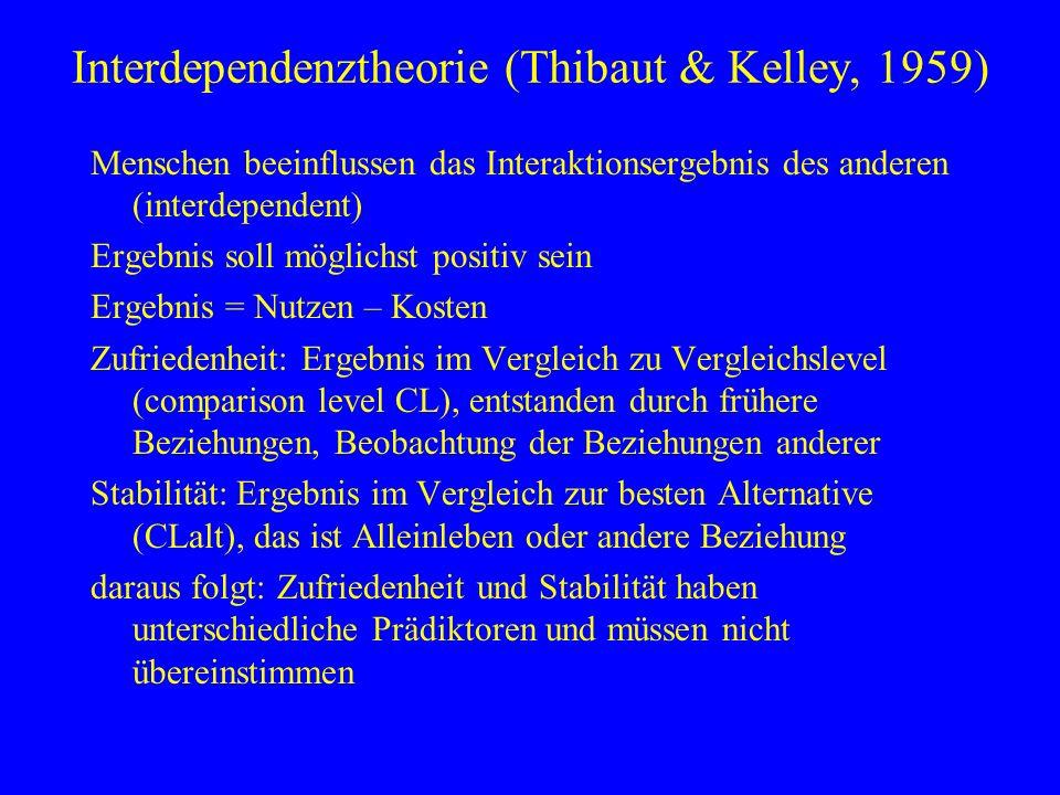 Interdependenztheorie (Thibaut & Kelley, 1959) Menschen beeinflussen das Interaktionsergebnis des anderen (interdependent) Ergebnis soll möglichst pos