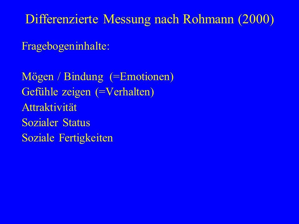Fragebogeninhalte: Mögen / Bindung (=Emotionen) Gefühle zeigen (=Verhalten) Attraktivität Sozialer Status Soziale Fertigkeiten Differenzierte Messung