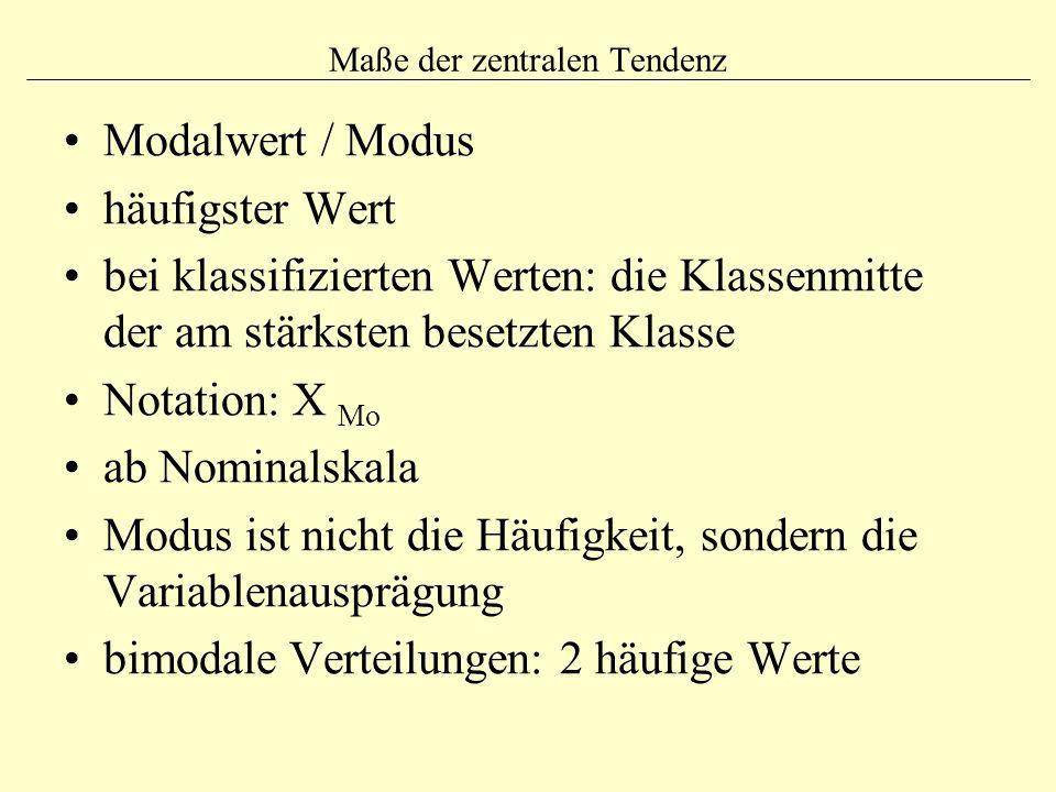 Maße der zentralen Tendenz Modalwert / Modus häufigster Wert bei klassifizierten Werten: die Klassenmitte der am stärksten besetzten Klasse Notation: X Mo ab Nominalskala Modus ist nicht die Häufigkeit, sondern die Variablenausprägung bimodale Verteilungen: 2 häufige Werte